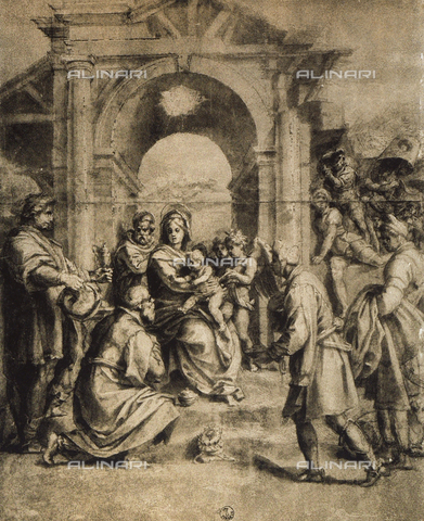 DIS-F-000051-0000 - Adoration of the Magi, drawing by Andrea del Sarto, Room of Drawings and Prints, Uffizi Gallery, Florence.