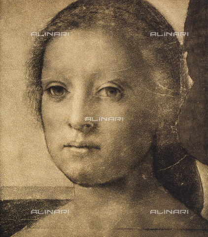 DIS-F-000082-0000 - Woman's face, drawing by Andrea del Sarto, Room of Drawings and Prints, Uffizi Gallery, Florence.