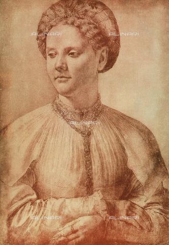DIS-F-000091-0000 - Portrait of a noblewoman, drawing; Gabinetto dei Disegni e delle Stampe, Uffizi Gallery, Florence