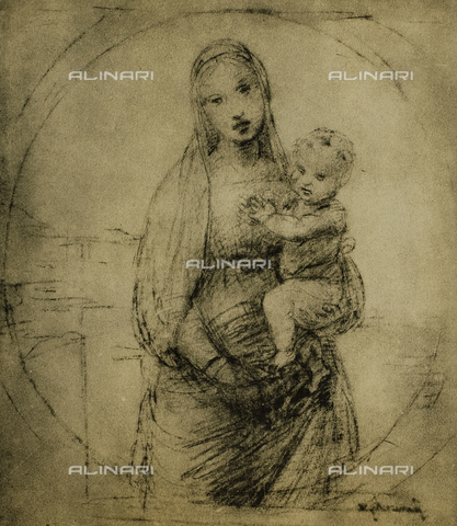 DIS-F-000102-0000 - Study for the Madonna del Granduca, drawing by Raphael, Gabinetto dei Disegni e delle Stampe, Uffizi Gallery, Florence