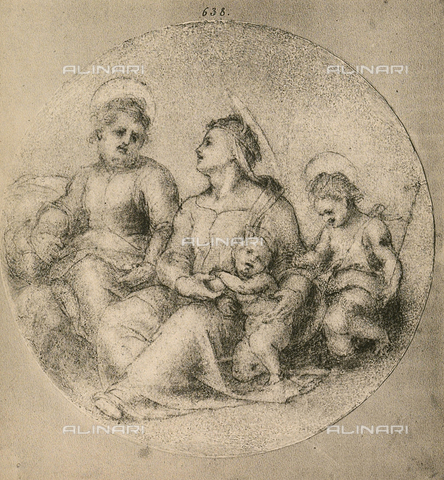 DIS-F-000160-0000 - Holy Family with the Infant Saint John, drawing by Andrea del Sarto, Room of Drawings and Prints, Uffizi Gallery, Florence.