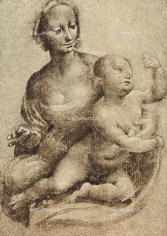 DIS-F-000180-0000 - Madonna and Child, drawing by Leonardo da Vinci, Gabinetto dei Disegni e delle Stampe, Uffizi Gallery, Florence