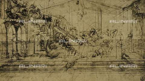 DIS-F-000181-0000 - Study for the Adoration of the Magi, drawing by Leonardo, Gabinetto dei Disegni e delle Stampe, Uffizi Gallery.