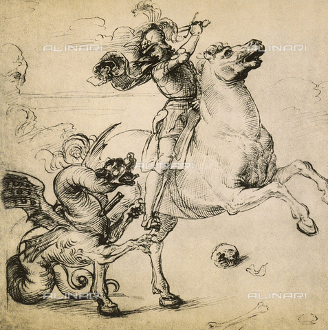 DIS-F-000208-0000 - St. George and the dragon, drawing, Gabinetto dei Disegni e delle Stampe, Uffizi Gallery.