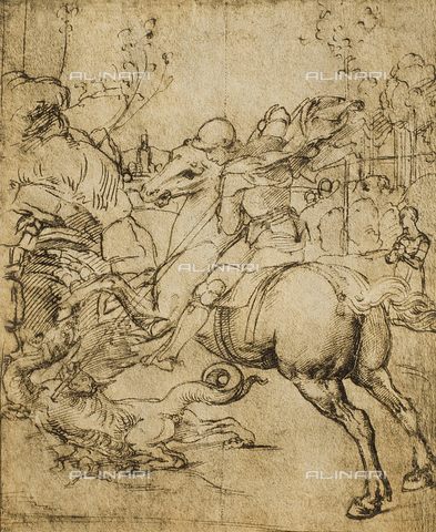 DIS-F-000209-0000 - St. George and the dragon, drawing by Raphael, Gabinetto dei Disegni e delle Stampe, Uffizi Gallery, Florence