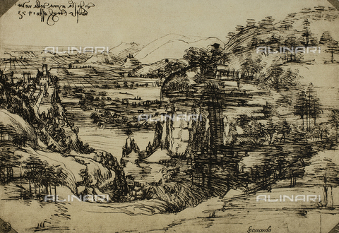 DIS-F-000244-0000 - Landscape of the Arno Valley, pen on paper, Leonardo da Vinci (1452-1519), Cabinet of Drawings and Prints, Uffizi Gallery, Florence