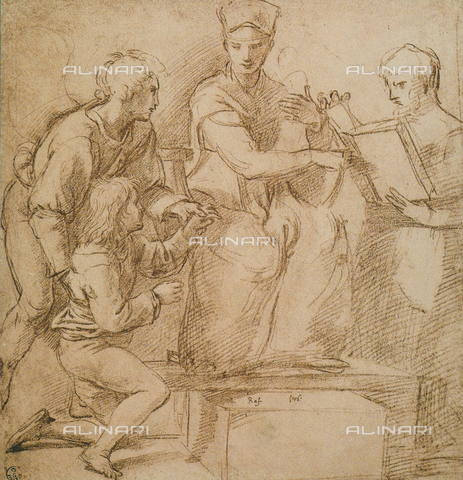 DIS-F-000255-0000 - Four figures (Madonna and Child?), drawing by Raphael, Gabinetto dei Disegni e delle Stampe, Uffizi Gallery, Florence
