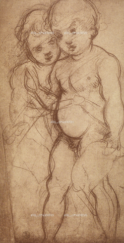 DIS-F-000265-0000 - Two putti, study by Andrea del Sarto, Department of Drawings and Prints, Uffizi Gallery, Florence.