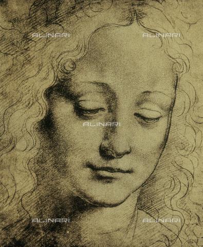 DIS-F-000270-0000 - Human face, drawing, Leonardo da Vinci, Gabinetto dei Disegni e delle Stampe, Uffizi Gallery, Florence