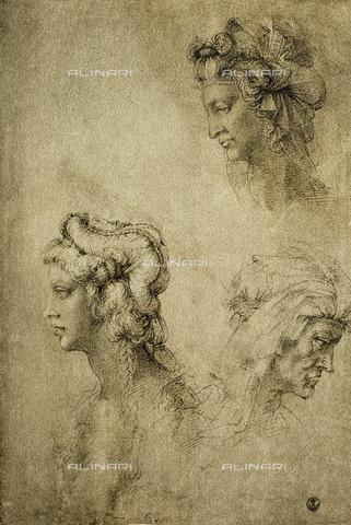 DIS-F-000274-0000 - Study of female heads, Gabinetto dei Disegni e delle Stampe, Uffizi Gallery, Florence