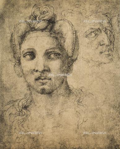 DIS-F-000278-0000 - Female head, drawing, Gabinetto dei Disegni e delle Stampe, Uffizi Gallery, Florence