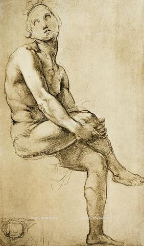 DIS-F-000319-0000 - Seated male nude, drawing by Raphael, Gabinetto dei Disegni e delle Stampe, Uffizi Gallery, Florence