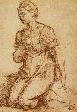 DIS-F-000336-0000 - Kneeling female figure, Gabinetto dei Disegni e delle Stampe, Uffizi Gallery, Florence