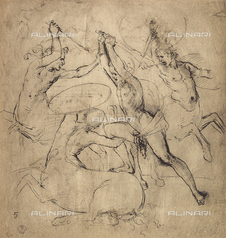 DIS-F-000364-0000 - War of the Centaurs. Drawing by Raffaello preserved in the Room of Drawings and Prints in the Gallery of the Uffizi.