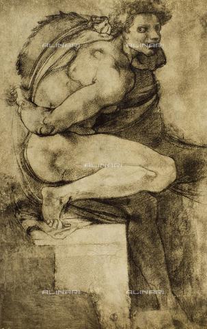 DIS-F-000371-0000 - Study of a male nude with bent leg, Gabinetto dei Disegni e delle Stampe, Uffizi Gallery, Florence