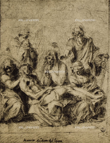 DIS-F-000376-0000 - The Pietà, drawing by Andrea del Sarto, Room of Drawings and Prints, Uffizi Gallery, Florence.