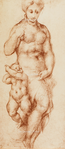 DIS-F-000379-0000 - Female nude with child next to her, drawing, Gabinetto dei Disegni e delle Stampe, Uffizi Gallery, Florence