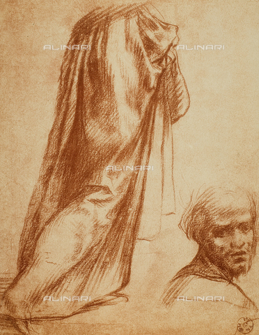 DIS-F-000382-0000 - Study of drapery and male portrait, Gabinetto dei Disegni e delle Stampe, Uffizi Gallery, Florence