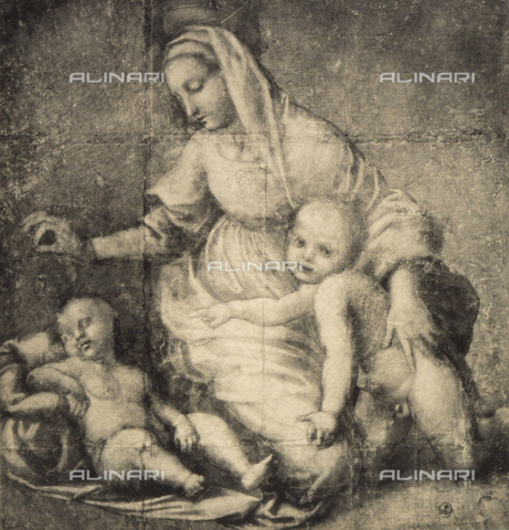 DIS-F-000395-0000 - Study for the painting, depicting the Madonna and Child and the infant St. John, preserved in The Louvre. Gabinetto dei Disegni e delle Stampe, Uffizi Gallery, Florence