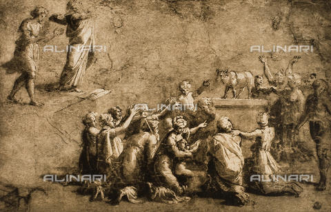 DIS-F-000396-0000 - Moses Breaks the Tables of the Law; drawing by Raphael. Gabinetto dei Disegni e delle Stampe, Uffizi Gallery, Florence