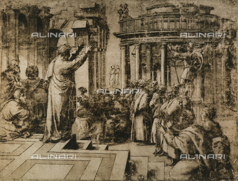 DIS-F-000398-0000 - St. Paul Preaching at Athens; drawing from the School of Raphael. Gabinetto dei Disegni e delle Stampe, Uffizi, Florence