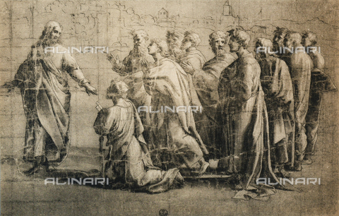 DIS-F-000399-0000 - Chrit giving the keys to St. Peter; drawing by the school of Raphael, Gabinetto dei Disegni e delle Stampe, Uffizi Gallery, Florence