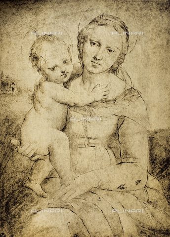 DIS-F-000400-0000 - Madonna and Child, Raphael school, Gabinetto dei Disegni e Stampe, Uffizi Gallery, Florence