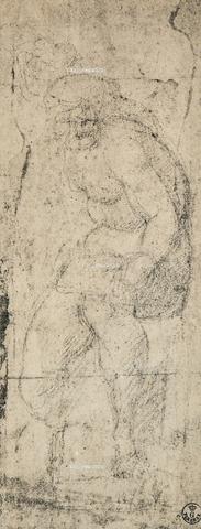 DIS-F-000422-0000 - Male nude, study by Michelangelo, Gabinetto dei Disegni e delle Stampe, Uffizi Gallery, Florence