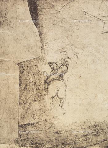 DIS-F-000424-0000 - Male figure on horseback, sketch by Michelangelo, Gabinetto dei Disegni e delle Stampe, Uffizi Gallery, Florence