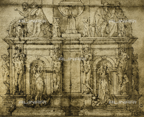 DIS-F-000615-0000 - Preparatory drawing for the funeral monument of Julius II. Work by Michelangelo preserved in the Gabinetto dei disegni e delle stampe of the Uffizi Gallery
