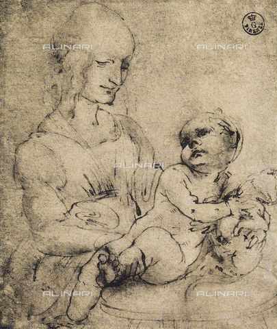 DIS-F-000760-0000 - Virgin and child, study for the Madonna of the cat; pen and watercolor drawing on white paper, Gabinetto dei Disegni e delle Stampe, Uffizi Gallery, Florence