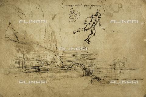 DIS-F-000811-0000 - Paesaggio con soldato e mezza figura di donna; disegno su carta bianca, a penna, conservato nel Gabinetto dei Disegni e delle Stampe degli Uffizi, Firenze