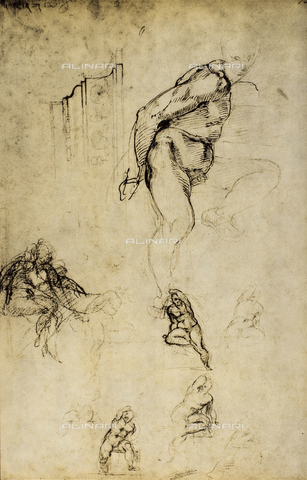 DIS-F-000861-0000 - Study of male figures, Michelangelo, Casa Buonarroti, Florence