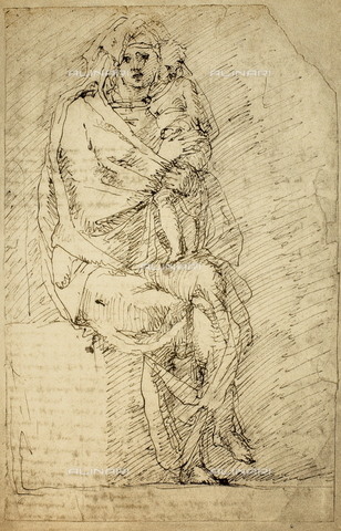 DIS-F-001001-0000 - Study for a Madonna and Child, Michelangelo, Casa Buonarroti, Florence