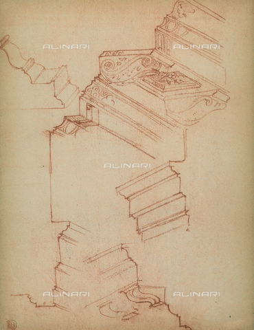 DIS-F-001005-0000 - Study for various cornices, Michelangelo, Casa Buonarroti, Florence