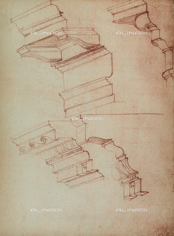 DIS-F-001007-0000 - Study for the realization of a few cornices, Michelangelo, Casa Buonarroti, Florence