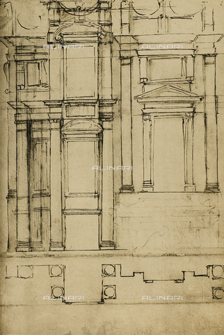 DIS-F-001009-0000 - Architectonic study for the Medici Chapels in the basilica of San Lorenzo; drawing by Michelangelo, Casa Buonarroti, Florence
