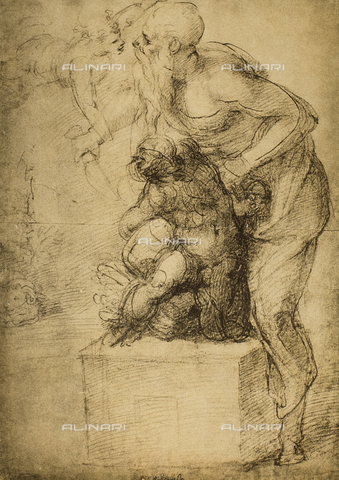 DIS-F-001012-0000 - The Sacrifice of Isaac; drawing by Michelangelo. Casa Buonarroti, Florence