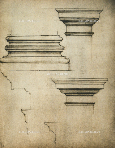 DIS-F-001020-0000 - Base and capitals of a pilaster; drawing by Michelangelo. Casa Buonarroti, Florence