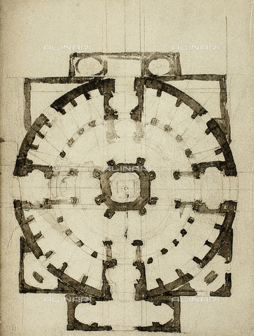 DIS-F-001021-0000 - Architectonic project for the plan of a church; drawing by Michelangelo. Casa Buonarroti, Florence