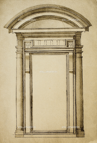 DIS-F-001028-0000 - A door; drawing by Michelangelo. Casa Buonarroti, Florence
