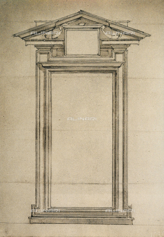 DIS-F-001030-0000 - Door of the Biblioteca Laurenziana, drawing by Michelangelo, Galleria Buonarroti, Florence