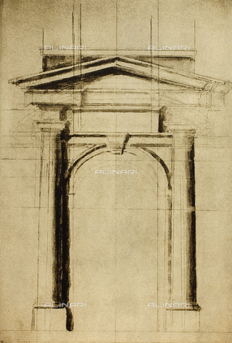 DIS-F-001031-0000 - Architectonic study for a door with a triangular tympanum; drawing by Michelangelo. Casa Buonarroti, Florence