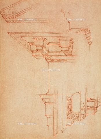DIS-F-001032-0000 - Study for a few cornices; drawing by Michelangelo. Casa Buonarroti, Florence