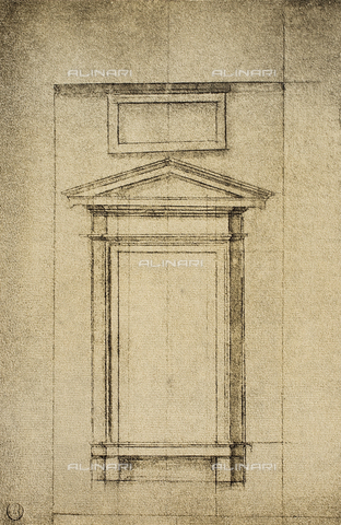 "DIS-F-001035-0000 - Study for a window of the ""vestibolo"" of the Laurentian Library; drawing by Michelangelo. Casa Buonarroti, Florence"