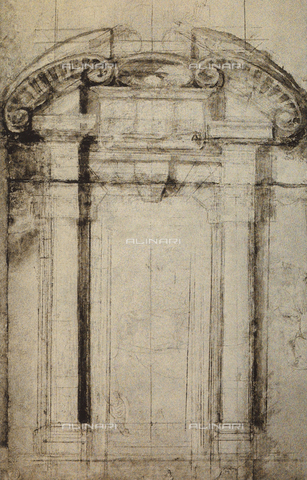 DIS-F-001037-0000 - Architectonic study for a portal; drawing by Michelangelo. Casa Buonarroti, Florence