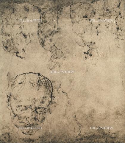 DIS-F-001047-0000 - Studio per una testa; disegni di Michelangelo conservati nella Casa Buonarroti a Firenze