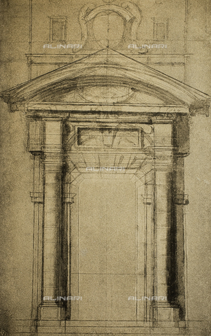 DIS-F-001049-0000 - Architectonic sketch of a door surmounted by a coat of arms; drawing by Michelangelo. Casa Buonarroti, Florence