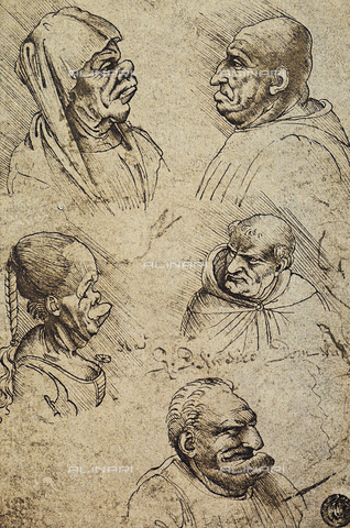 DIS-F-001061-0000 - Five grotesque heads, drawing by Leonardo da Vinci, Gallerie dell'Accademia, Venice