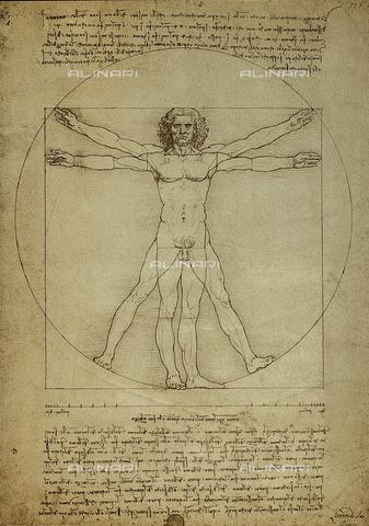 DIS-F-001085-0000 - Vinci, Leonardo da (1452-1519), 'Vitruvian man, proportions of the human figure', c.1492, pen and ink on paper, Galleria dell' Accademia, Venice, Italy